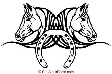 têtes, chevaux, chaussure, blanc, deux