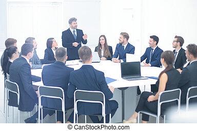 têtes, d, fonctionnement, compagnie, tient, patron, tenue, réunion