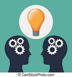 têtes, gens colorent, mécanismes, solution, deux, fond, icône
