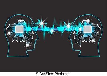têtes, symbole, deux, direction, collaboration, humain, représenté, education