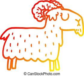 têtu, gradient, chèvre, chaud, dessin ligne, dessin animé