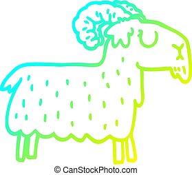 têtu, gradient, ligne, dessin animé, chèvre, froid, dessin