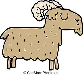 têtu, griffonnage, chèvre, dessin animé