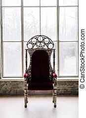 têxtil, cadeira, velour, vindima, decorativo, coberto
