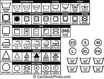têxtil, cuidado, símbolos, vetorial, jogo