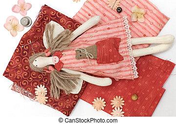 têxtil, feito à mão, boneca, e, cosendo, acessório