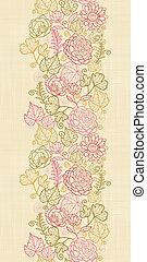têxtil, flores, vertical, seamless, padrão, fundo, borda