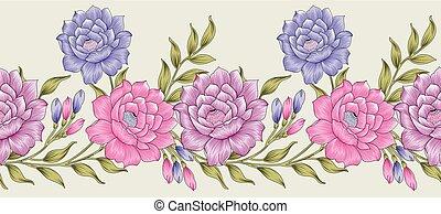 têxtil, fronteira floral, seamless