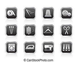 têxtil, objetos, e, indústria, ícones