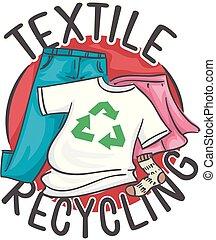 têxtil, reciclagem, ilustração, ícone