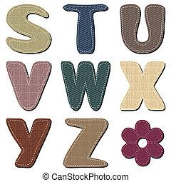 têxtil, scrapbook, alfabeto