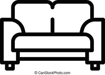 têxtil, sofá, ícone, estilo, esboço