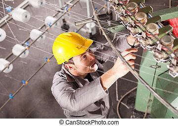 têxtil, técnico, companhia, reparar