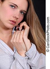 tímido, adolescente, modelo