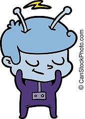 tímido, caricatura, astronauta