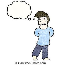 tímido, caricatura, hombre