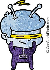 tímido, caricatura, spaceman