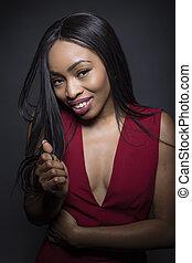 tímido, mirar, norteamericano, africano femenino, retrato