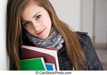 tímido, morena, jovem, estudante, girl.