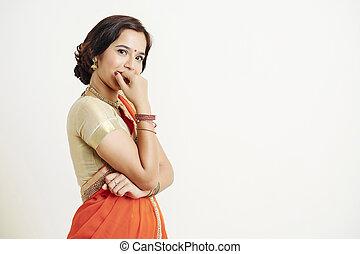 tímido, mujer, indio