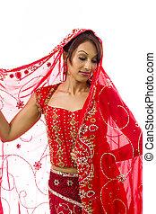tímido, mujer, indio, joven