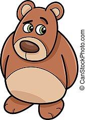 tímido, oso, animal, ilustración, caricatura
