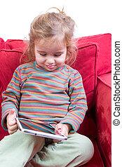 tímido, poco, adorable, niña, tablet-pc