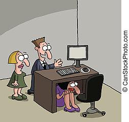 tímido, trabalhador, escritório, novo