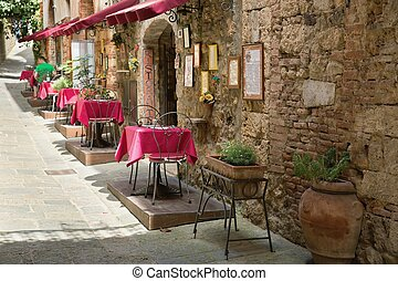 típico, acera, restaurante, escena, en, toscana
