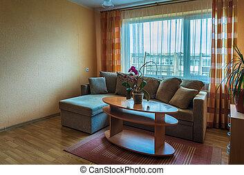 típico, apartamento, soviético, estilo, interior