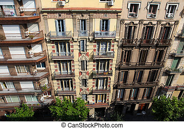 típico, arquitetura, em, barcelona, espanha