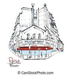típico, casa, francia, parisiense