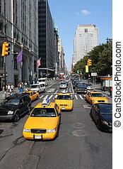 típico, ciudad nueva york, tráfico