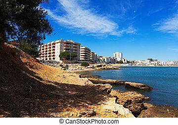 típico, costa, mediterráneo, l'ampolla, town.