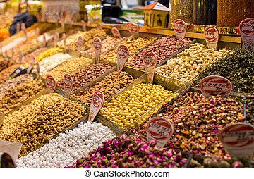 típico, especias, y, tés, en, venta, en, el, turco, mercados