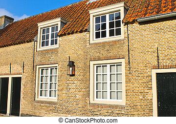 típico, holandés, suburbano, house., países bajos