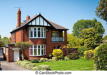 típico, inglés, casa, con, un, jardín
