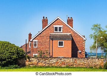 típico, inglês, casa, ligado, céu azul