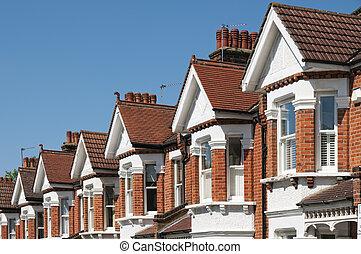 típico, inglês, casas fileira, terraced, london.