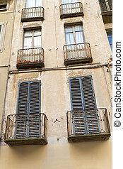 típico, italiano, balcones, en, un, residencial, casa