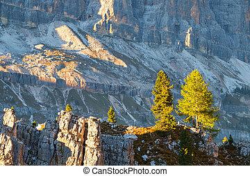típico, paisagem montanha, em, a, dolomites, em, itália