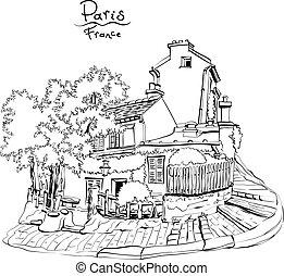 típico, parisiense, casa, francia