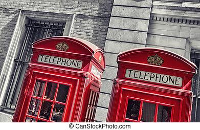 típico, telefone vermelho, bancas, em, londres