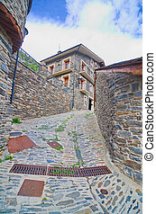 típico, tradicional, escuro, tijolo, andorra, rural, casas