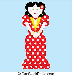 típico, vetorial, flamenco, ilustração, espanhol
