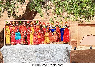 títeres, filas, indio, colorido