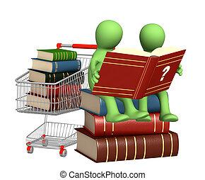 títeres, lectura, diccionario, 3d
