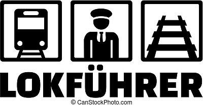 título, alemão, ícones, motorista, trem trabalho