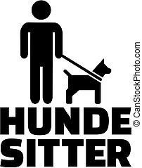 título, alemão, cão, trabalho, sitter, ícone