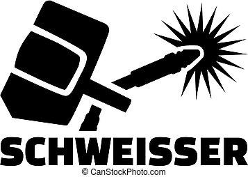 título, alemão, -, equipamento, trabalho, soldador